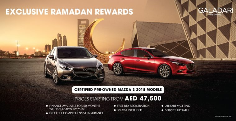 Certified pre-owned Mazda 3 from AED 47,500