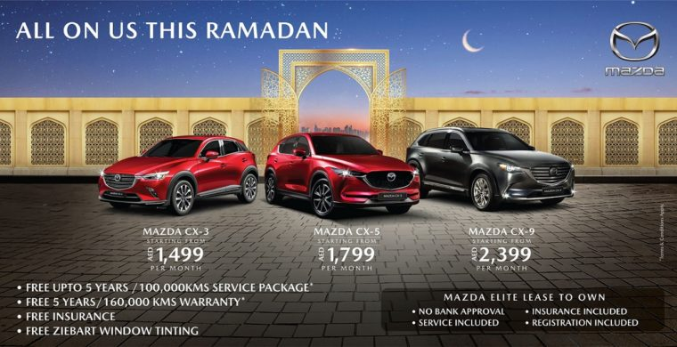 Mazda SUVs' starting at just AED 1,499 per month